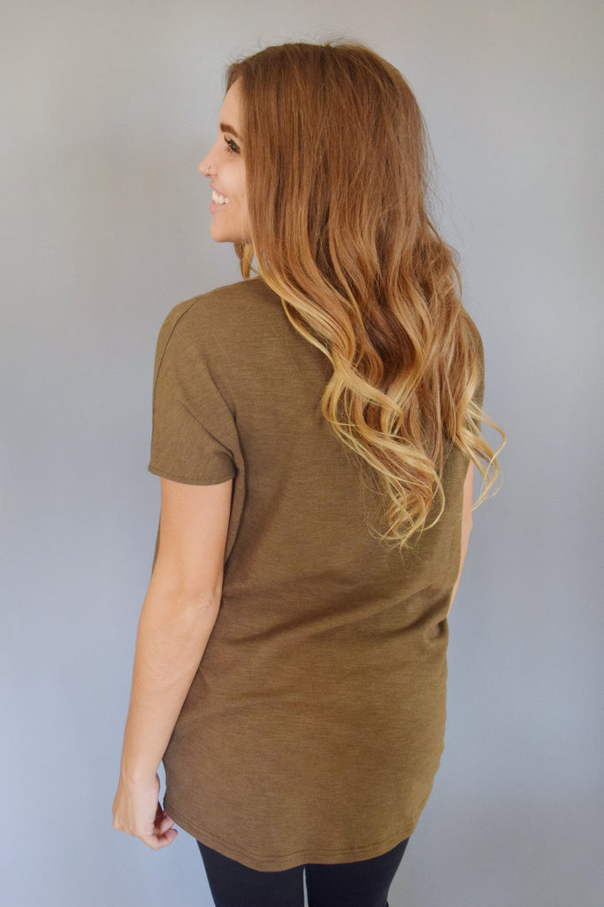 Womens Boutique olive mesh pannel tee