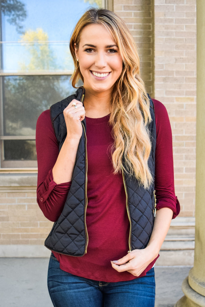 Affordable quilted suede piping vest black