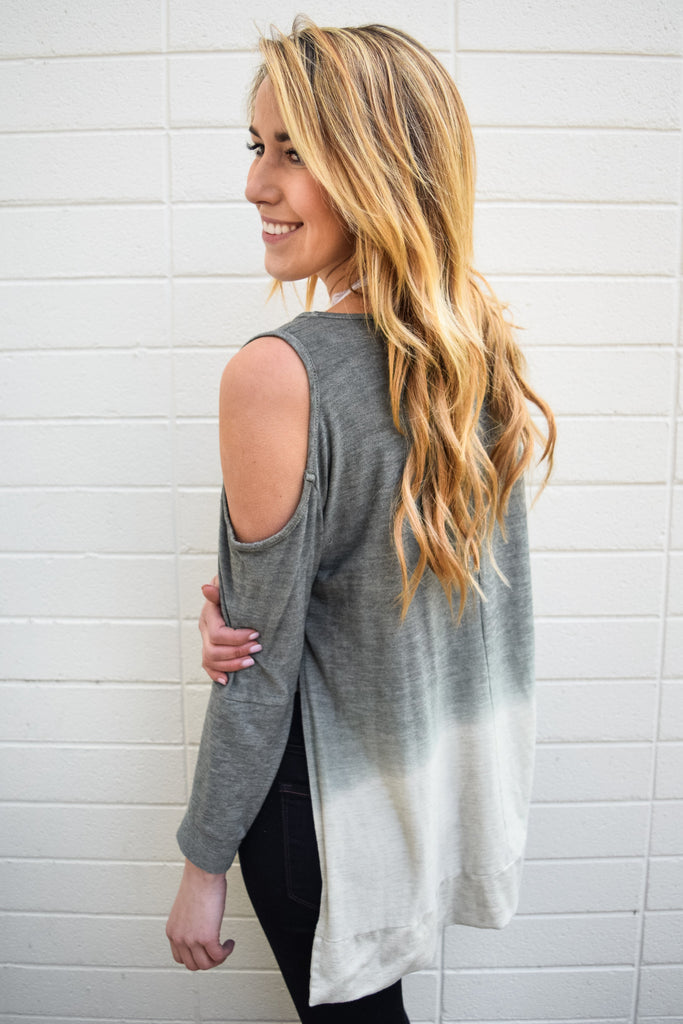 Trendy olive dip dyed top