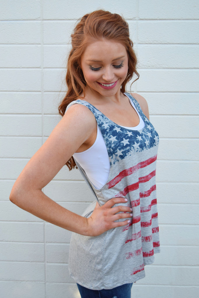 Womens Clothing stars and stripes tank grey