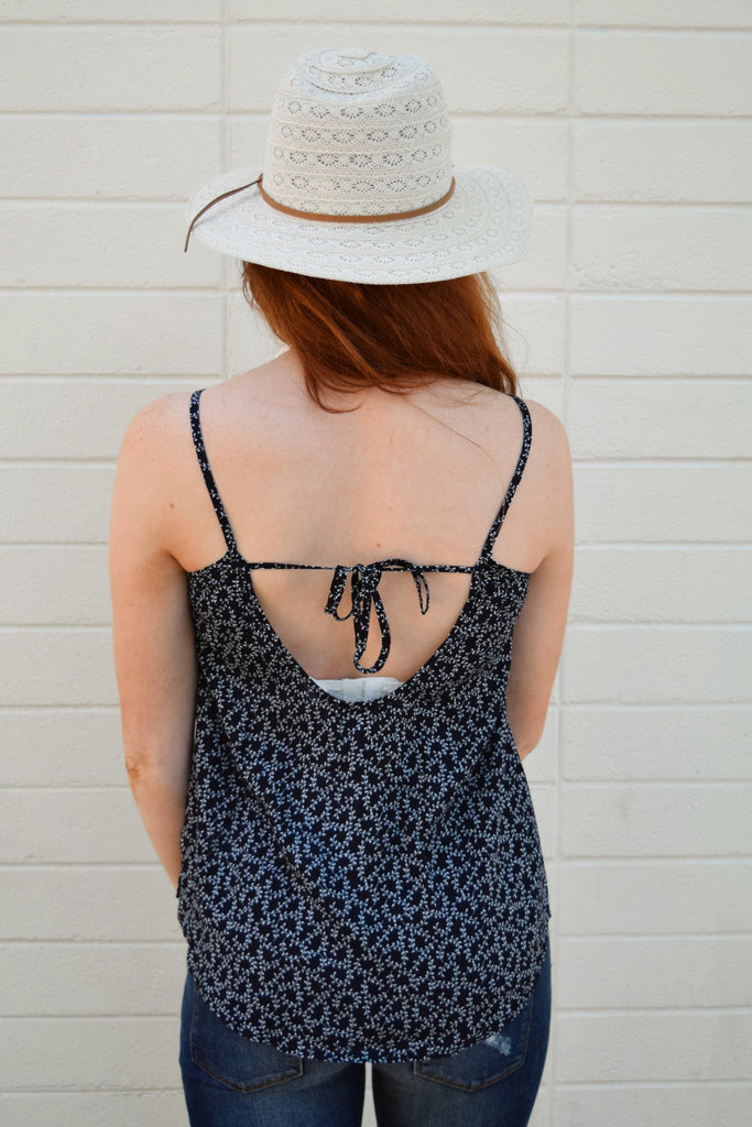 Womens Clothing falling leaves tie back tank navy