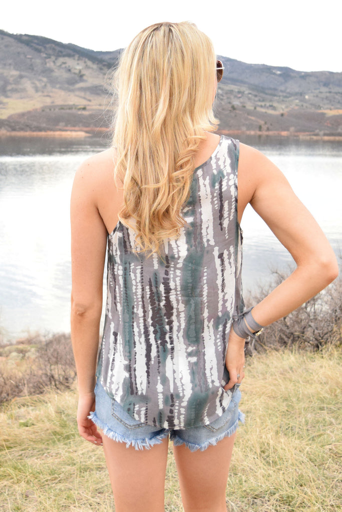 Affordable evergreen printed tank