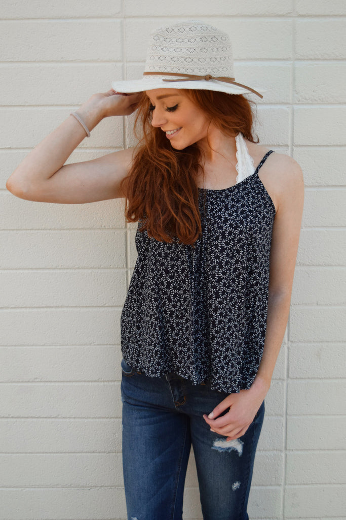 Trendy falling leaves tie back tank navy
