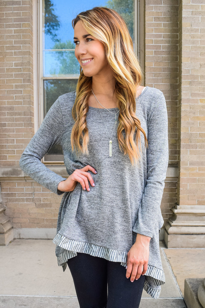 Chic Two Stripe Tunic Gray