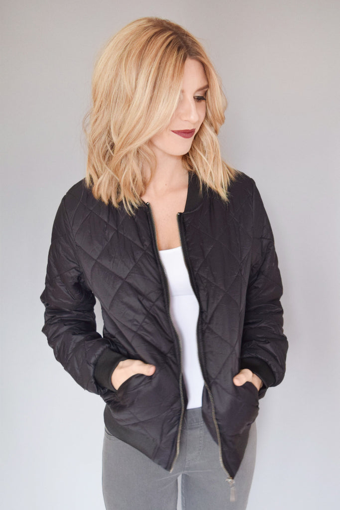 Chic Quilted Bomber Jacket Black