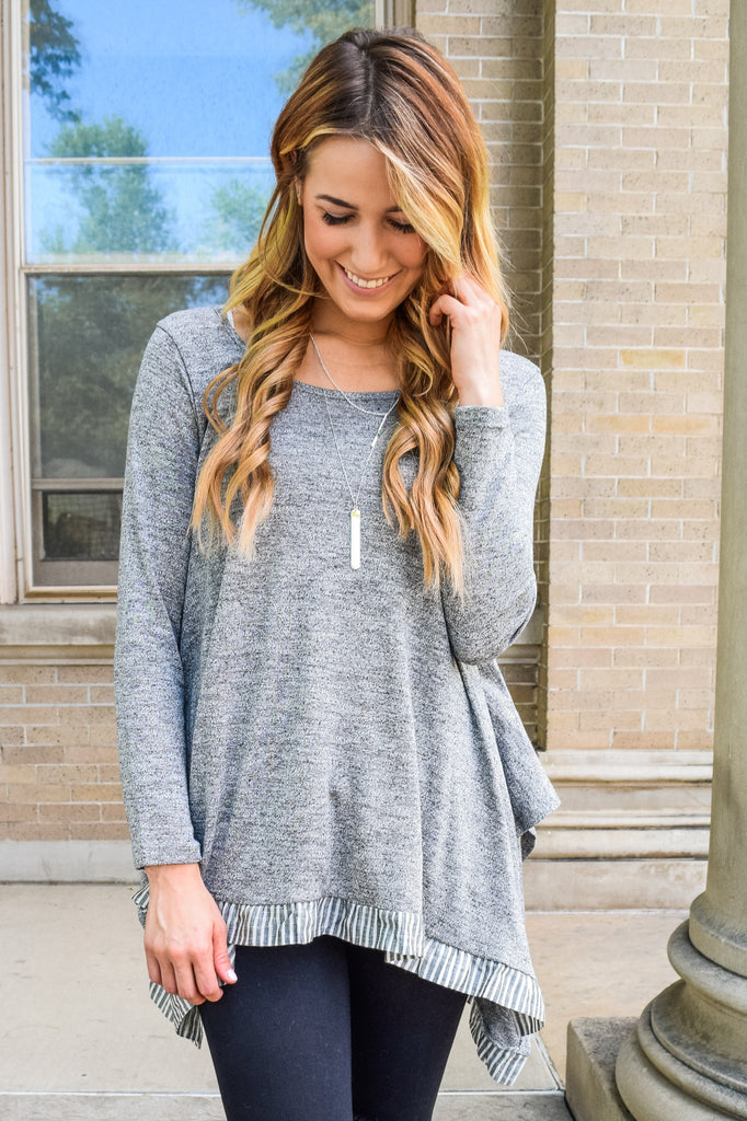 Colorado Chic two stripe tunic gray