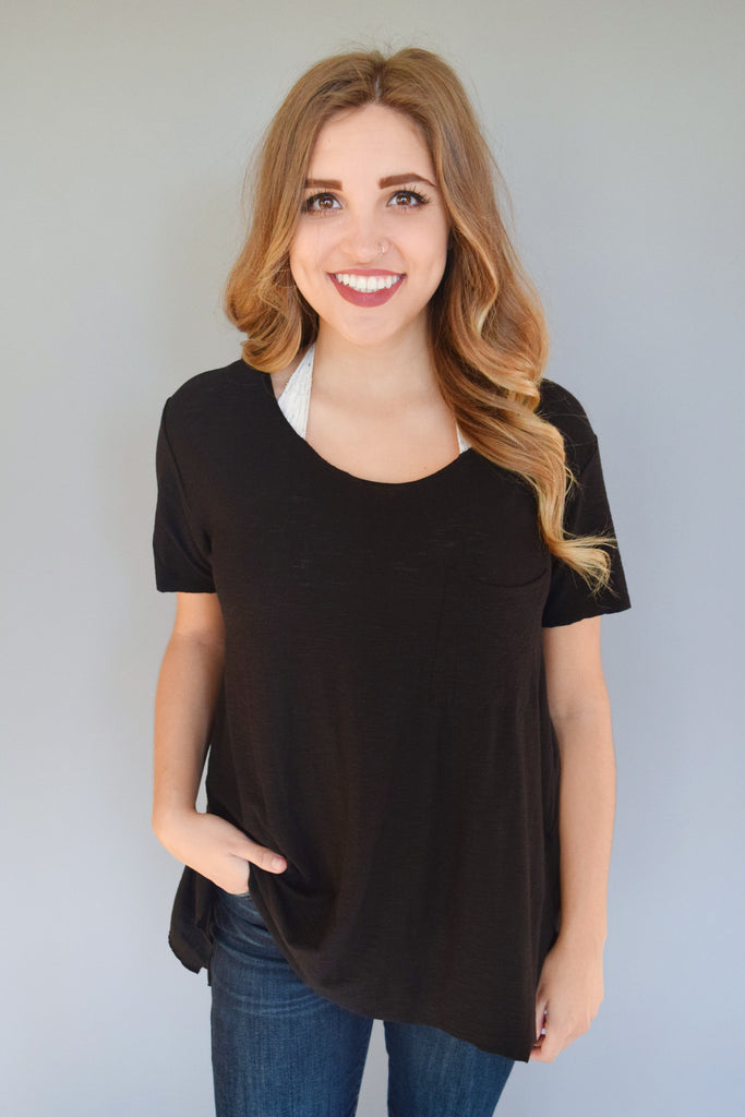 Cute Alpine Side Slit Tee Black