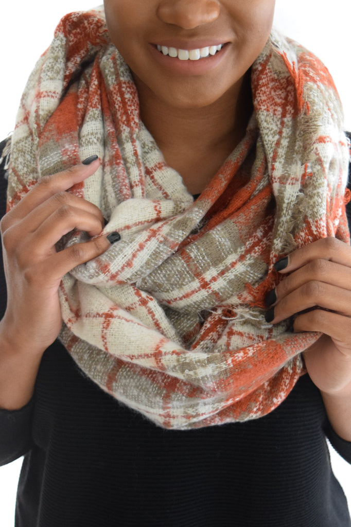 Plaid Infinity Scarf In Brick