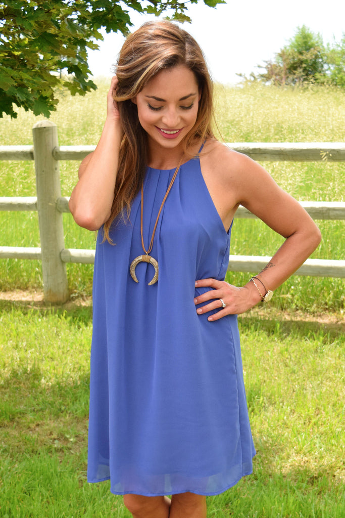 Trendy Magnolia Chiffon Dress Blue