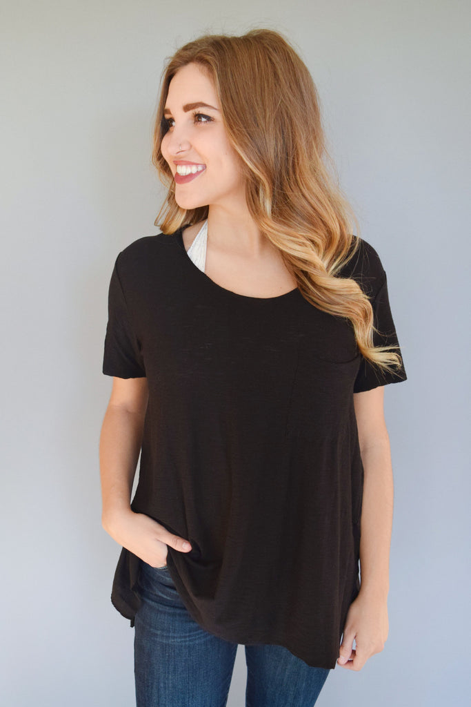 Cute Online alpine side slit tee black