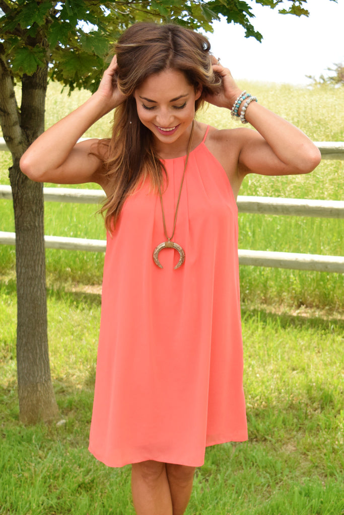 Trendy Online Magnolia Chiffon Dress Coral