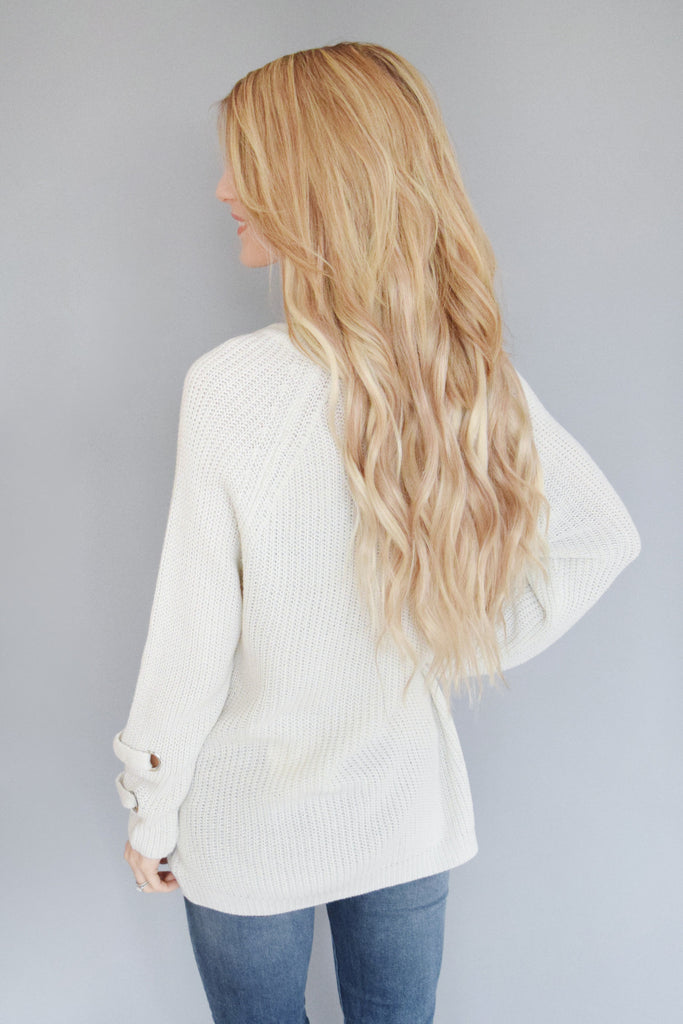 Madison Lace Up Sweater Stone