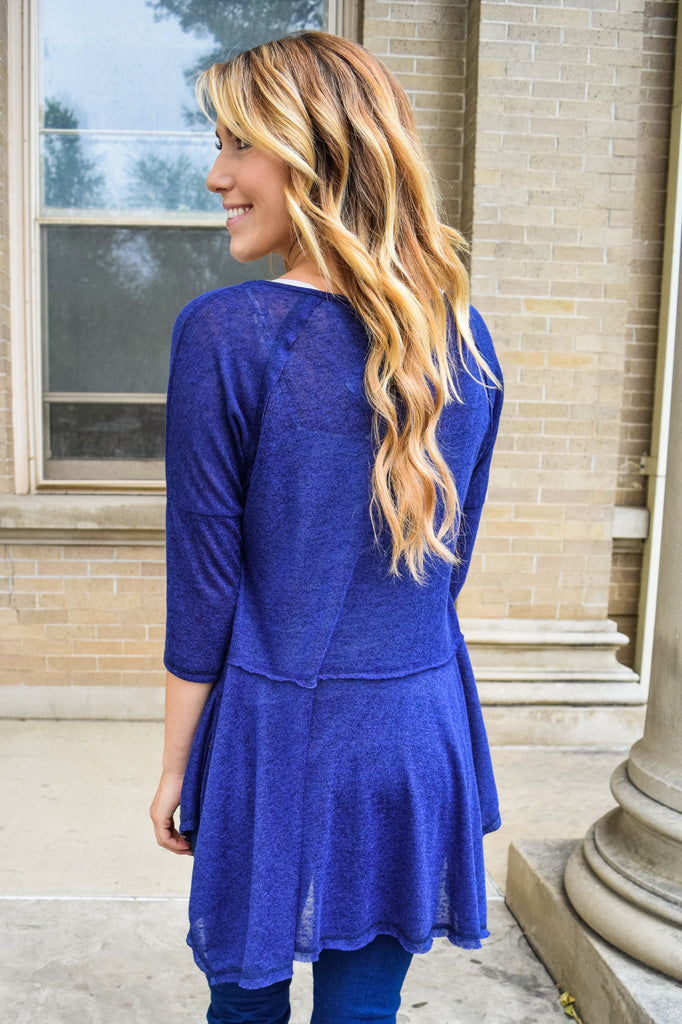 Womens Clothing stardust asymmetrical top royal blue