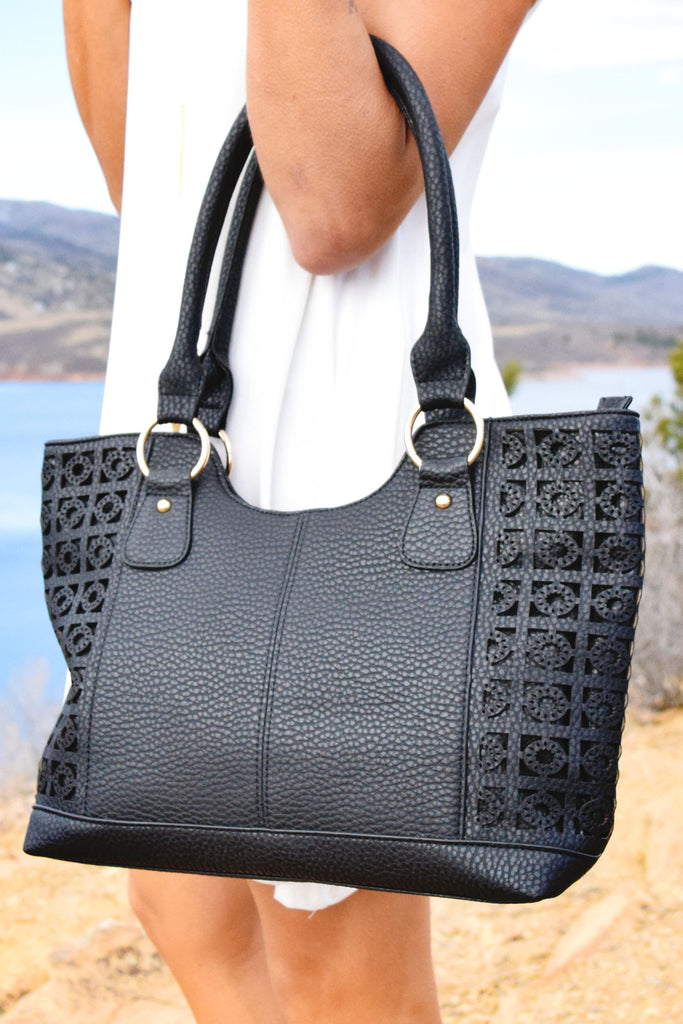 Affordable Online Ibiza Textured Shoulder Bag Black