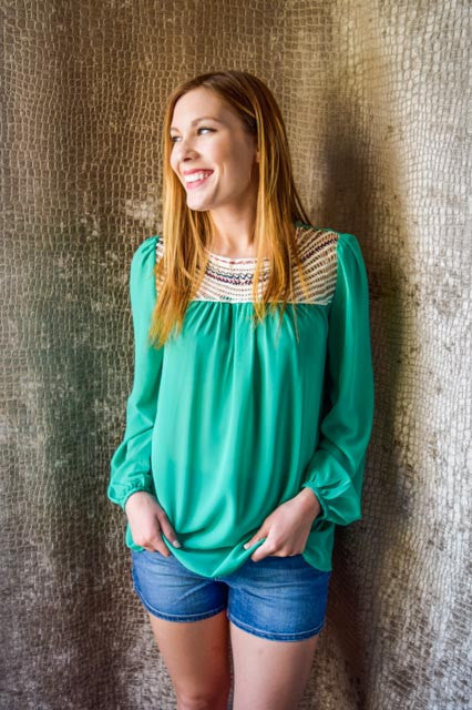 Chic sun rays in the evening green top