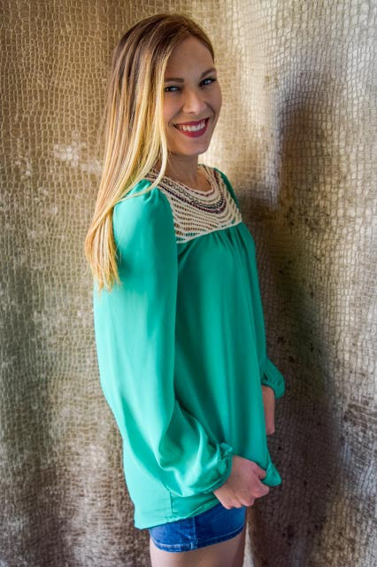 Womens Boutique sun rays in the evening green top