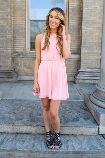 Colorado Chic love and laugh pink dress