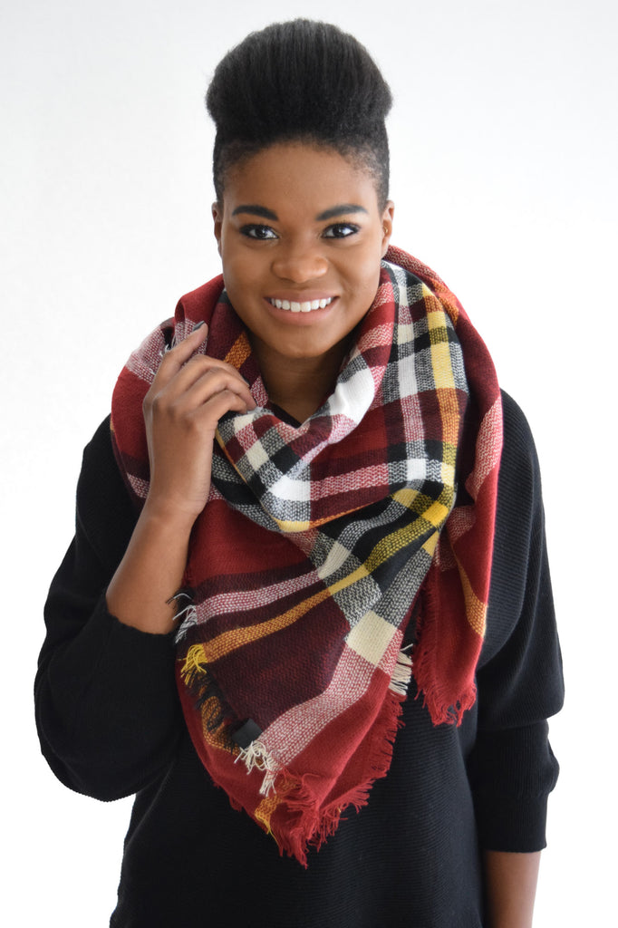 Falling Leaves Blanket Scarf Burgundy