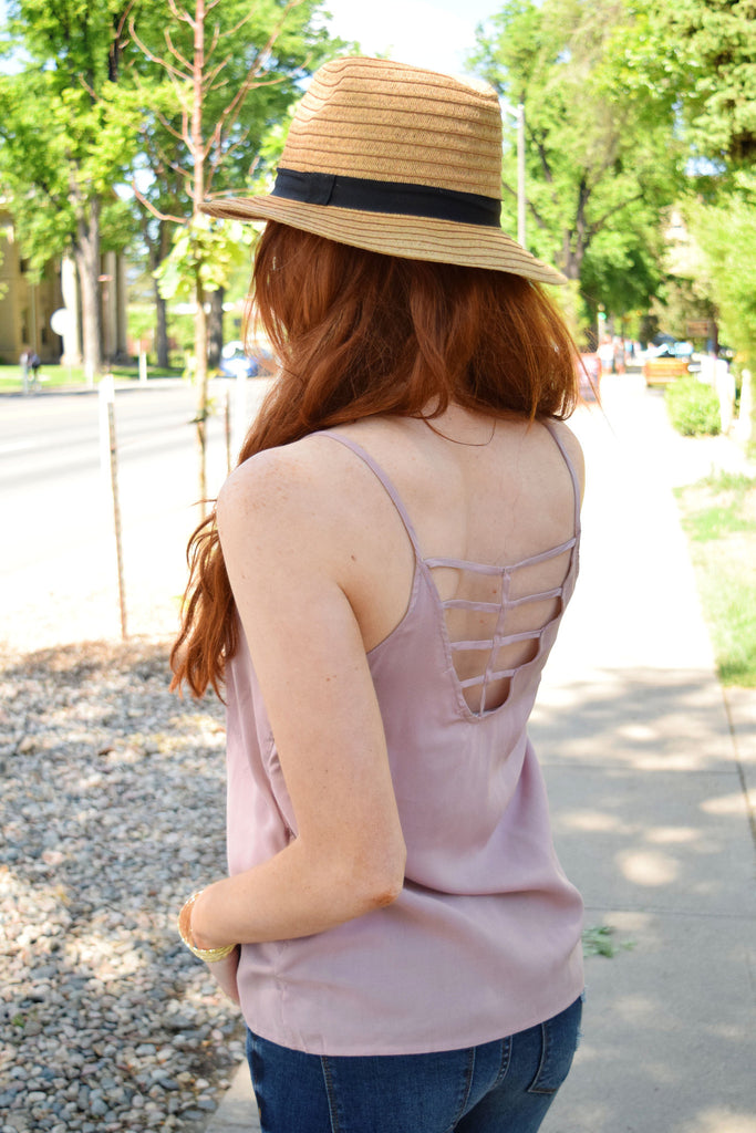 Affordable break free cage back tank mauve