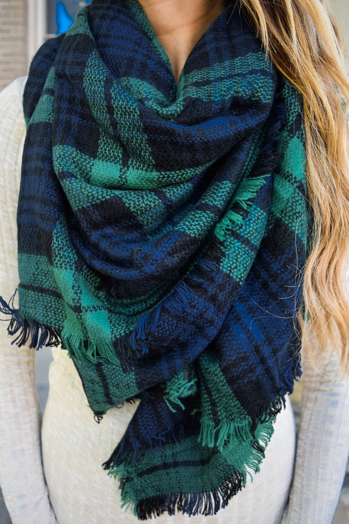 Colorado Chic Rocky Mountain Plaid Scarf Winter Green