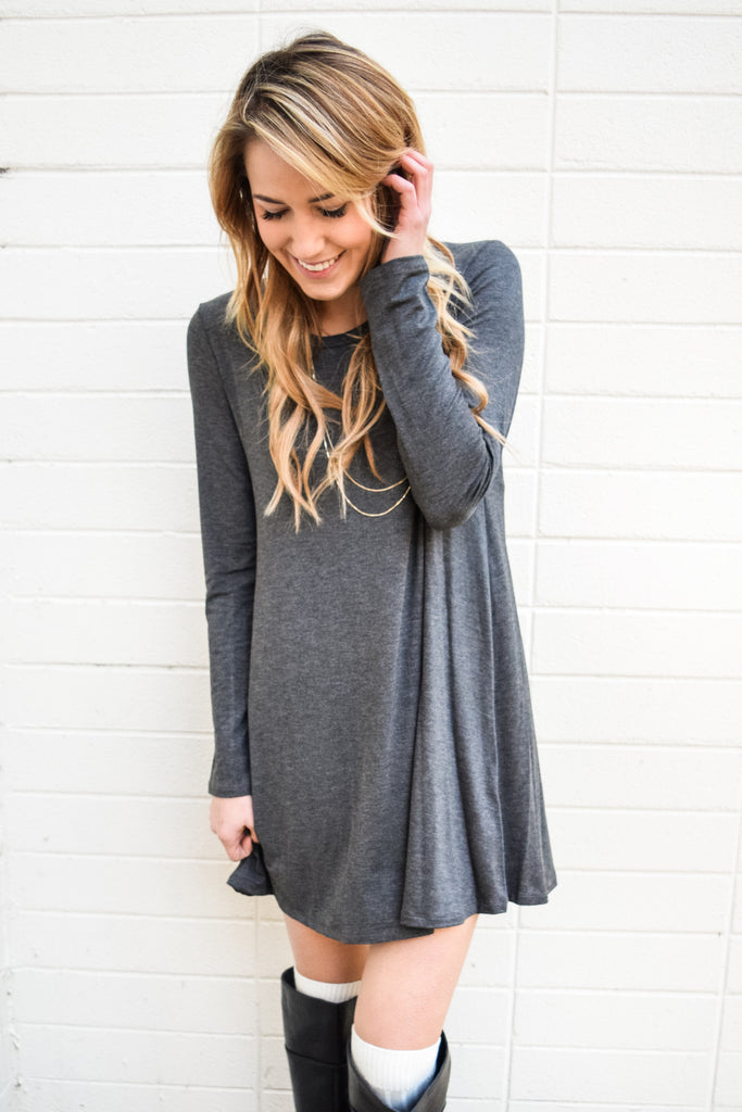 Trendy Online Day to Night Charcoal Sweater Dress