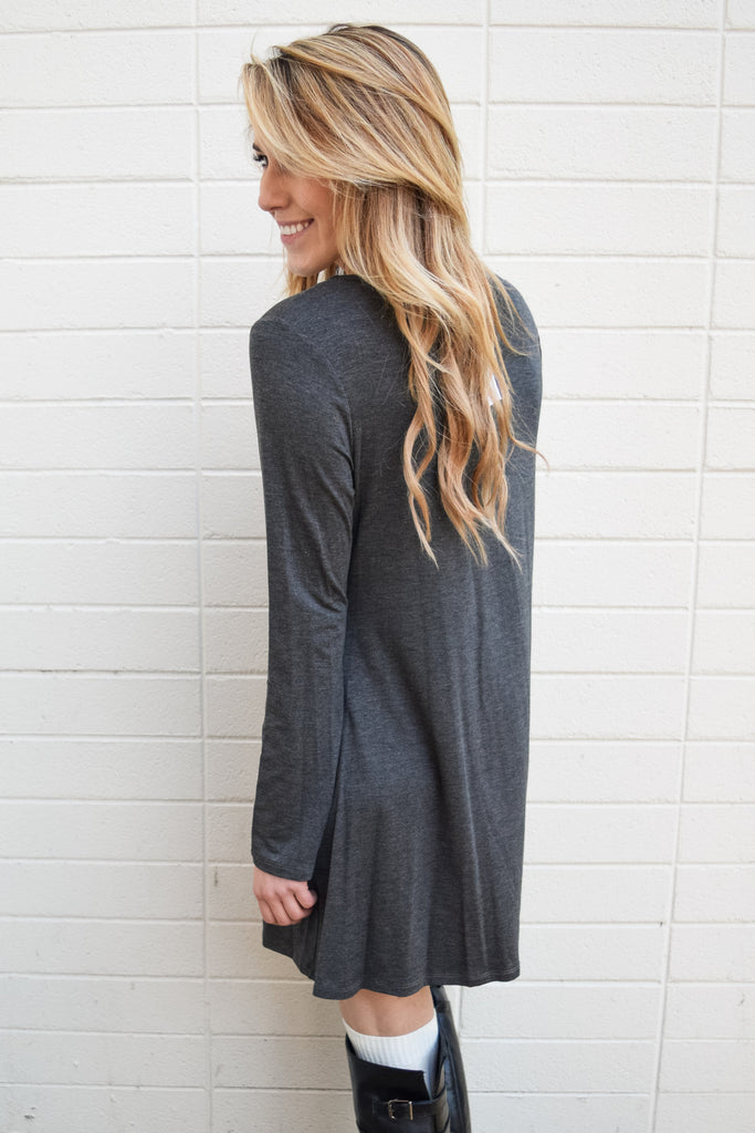 Affordable Online day to night charcoal sweater dress