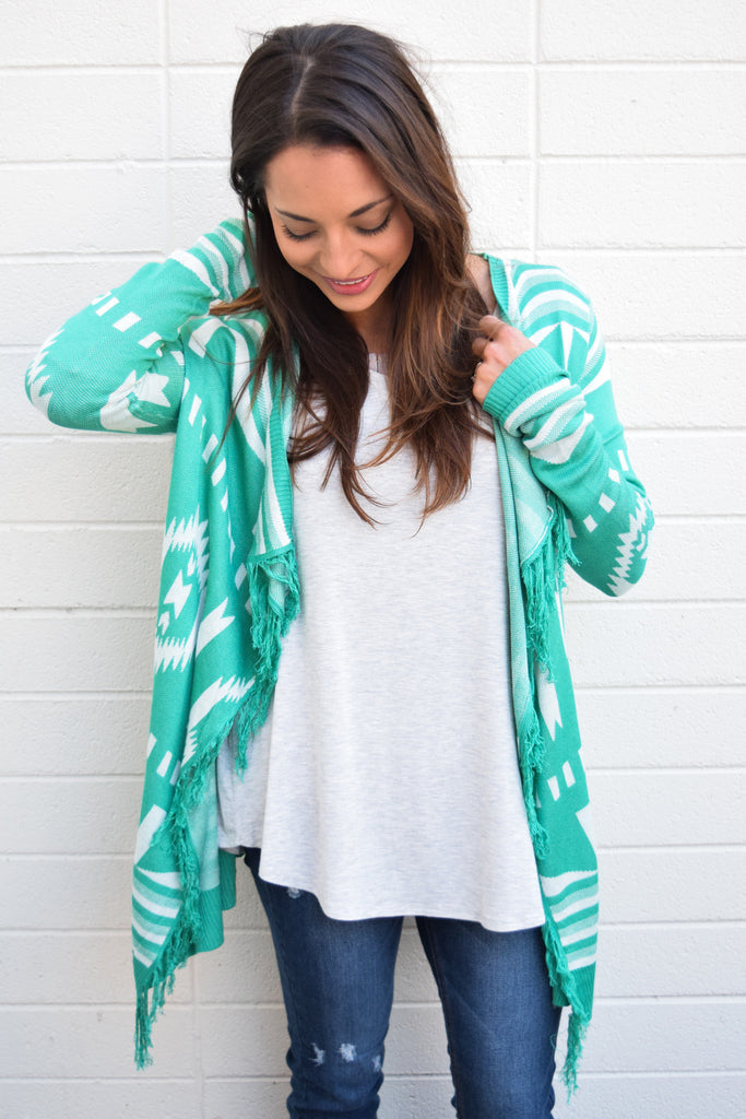 Womens Boutique Road Trip Fringe Cardigan Jade