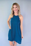 Scallop Teal Dress