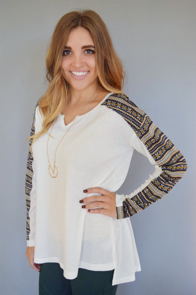 Cute Online Fairisle Printed Long Sleeve Top