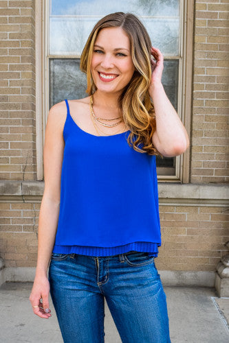 Trendy Cobalt Pleat Tank