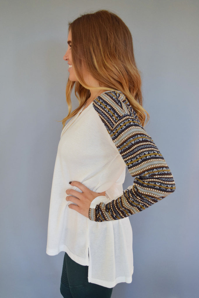 Affordable Online fairisle printed long sleeve top