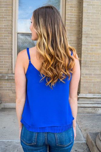 Cute cobalt pleat tank
