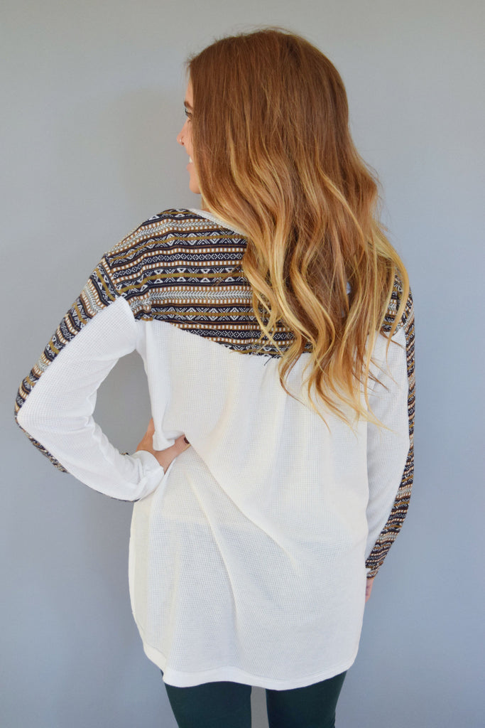 Chic fairisle printed long sleeve top