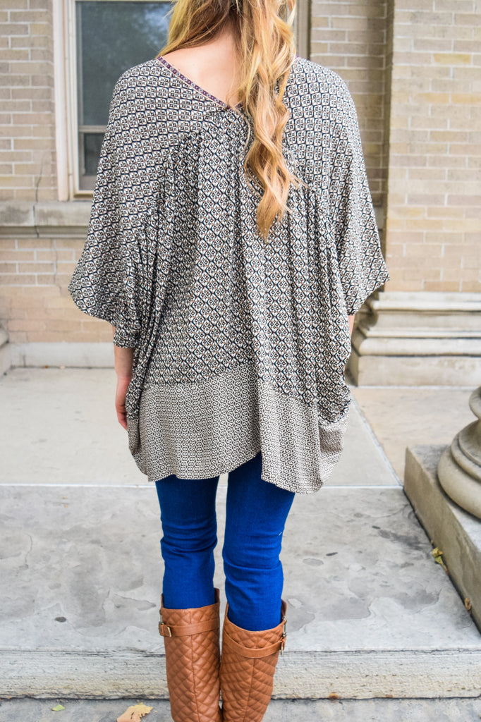 Womens Boutique printed oversized tunic