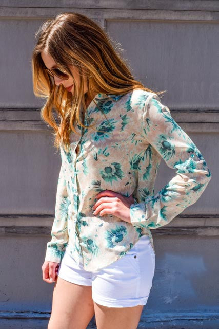 Affordable Online Mint Flowers Spring Chiffon Top