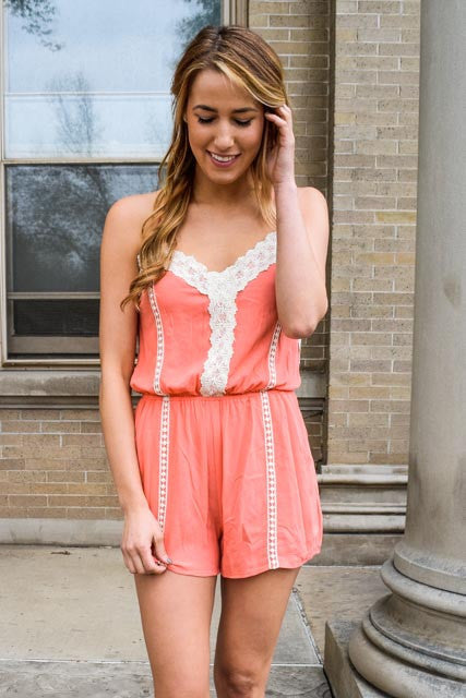 Affordable Online On the Dock Coral Lace Romper