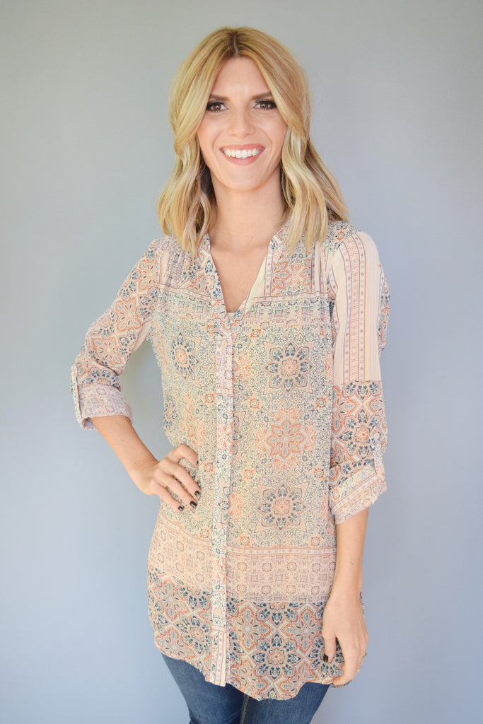 Colorado Chic Tapestry Printed Chiffon Tunic