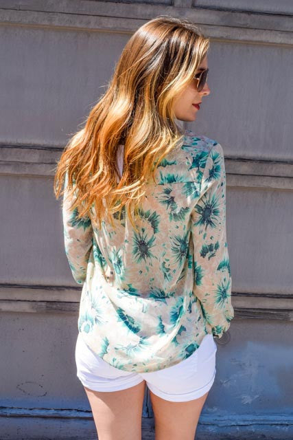 Colorado Chic mint flowers spring chiffon top