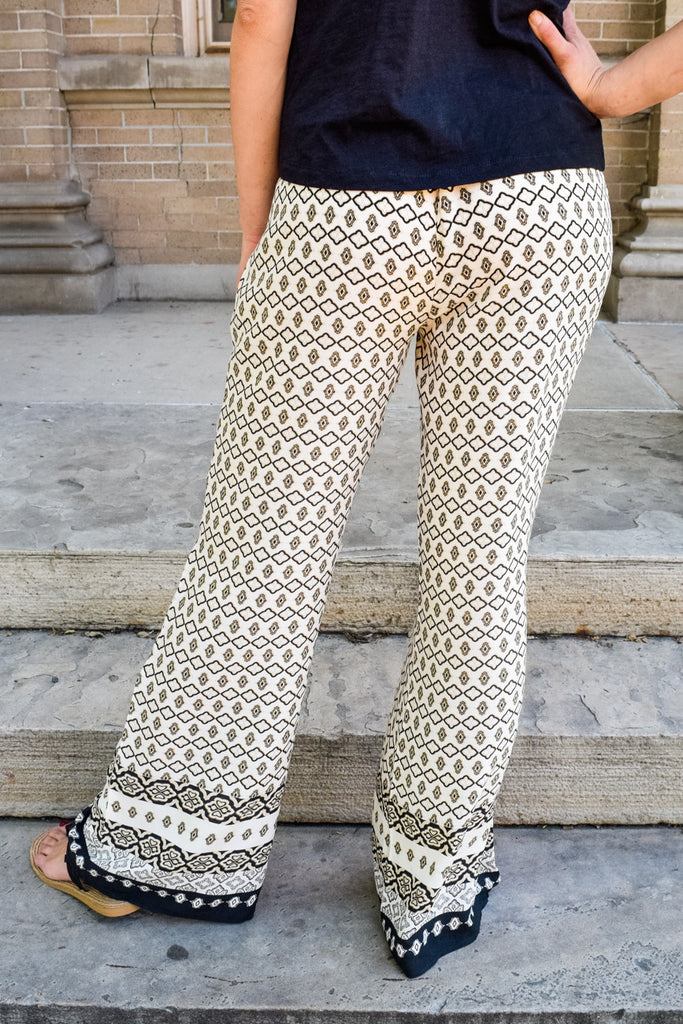 Chic high waist wide leg print pants