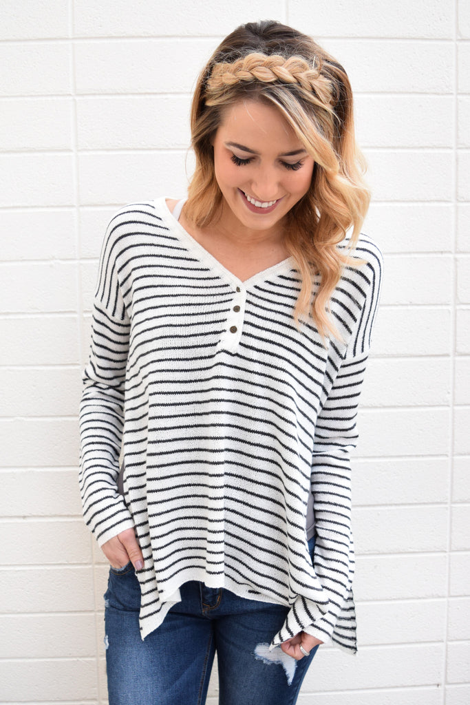 Womens Clothing Glacier River Striped Henley