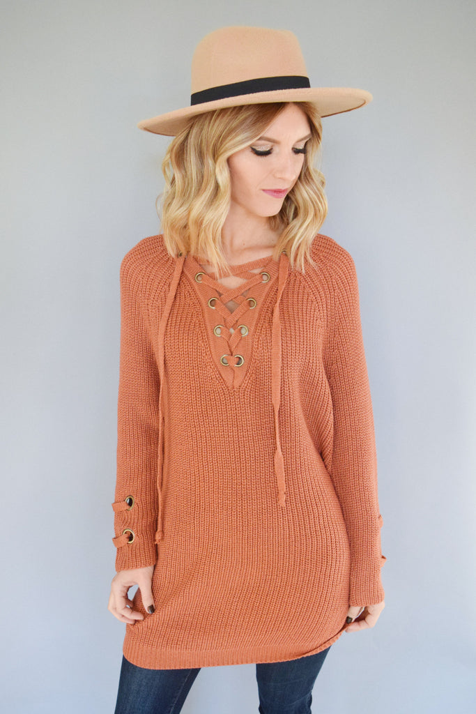 Womens Online Evergreen Lace Up Sweater Rust