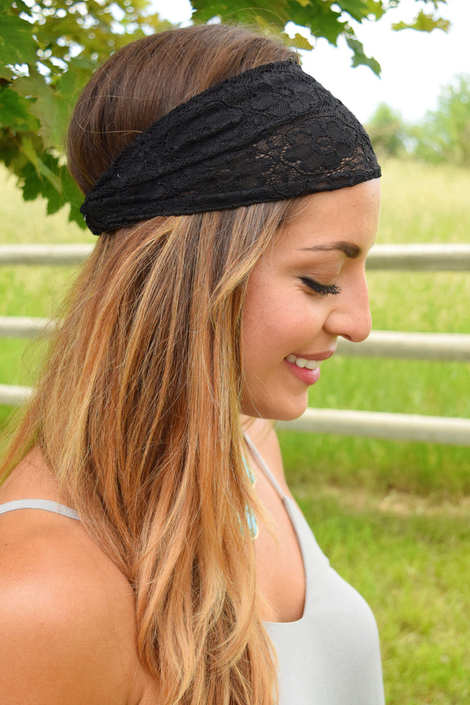 Trendy Black Lace Headband