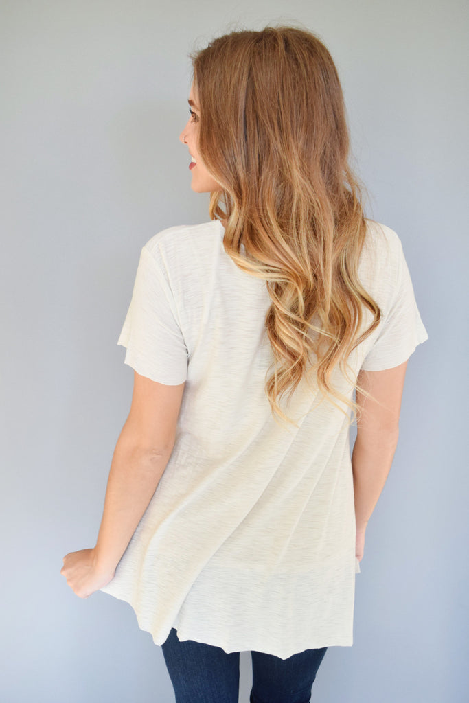 Womens Boutique alpine side slit tee ivory