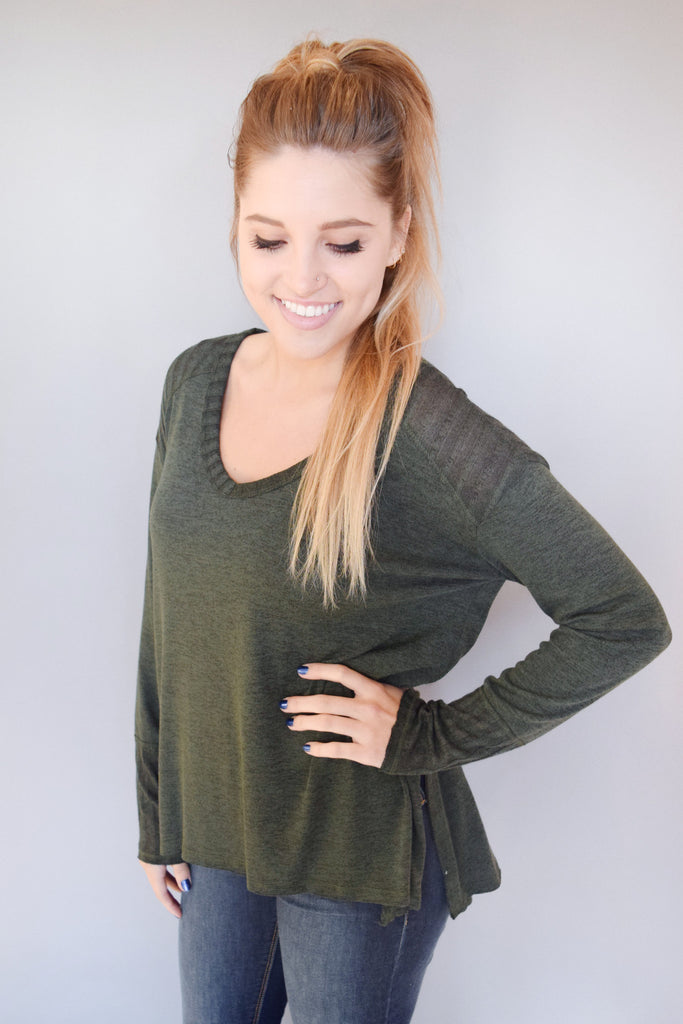 Womens Online Piper Knit Top Forest Green
