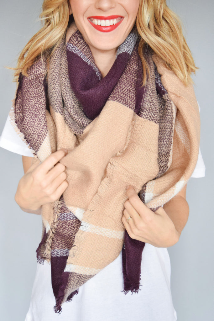 Affordable Hot Cocoa Blanket Scarf Mauve