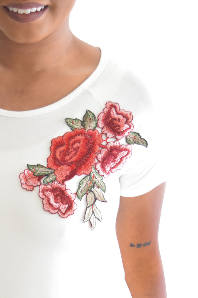 Rose Floral Patch Top