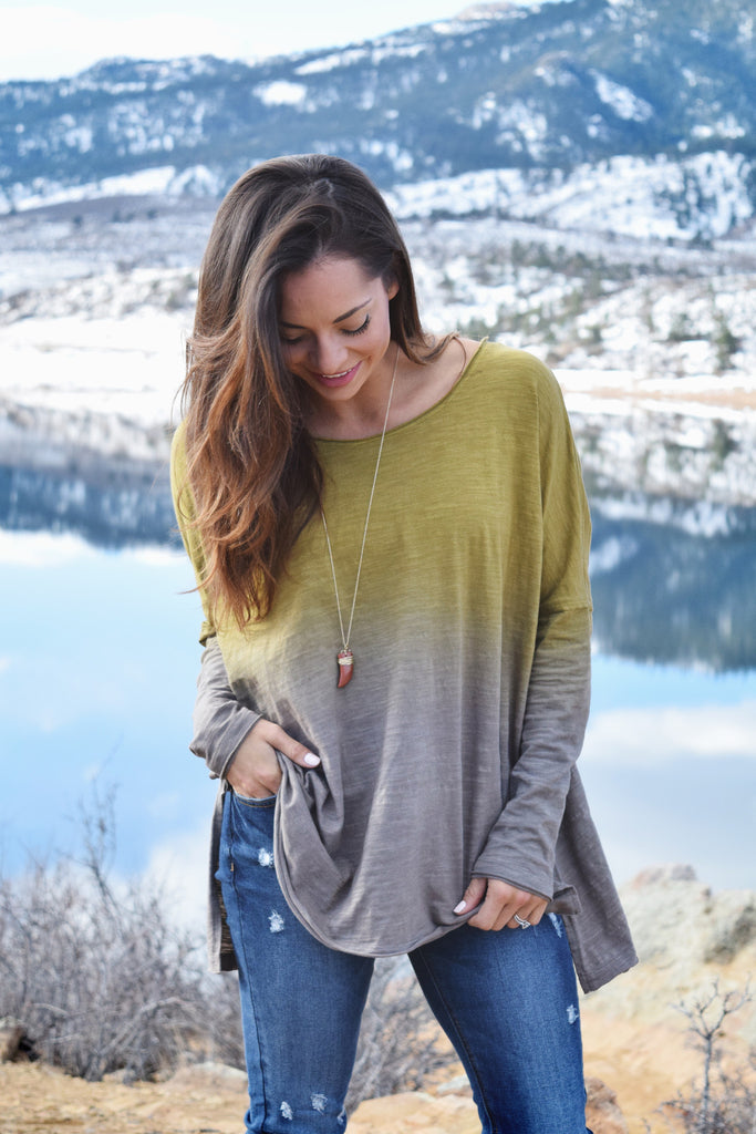 Affordable to dye for long sleeve top mustard