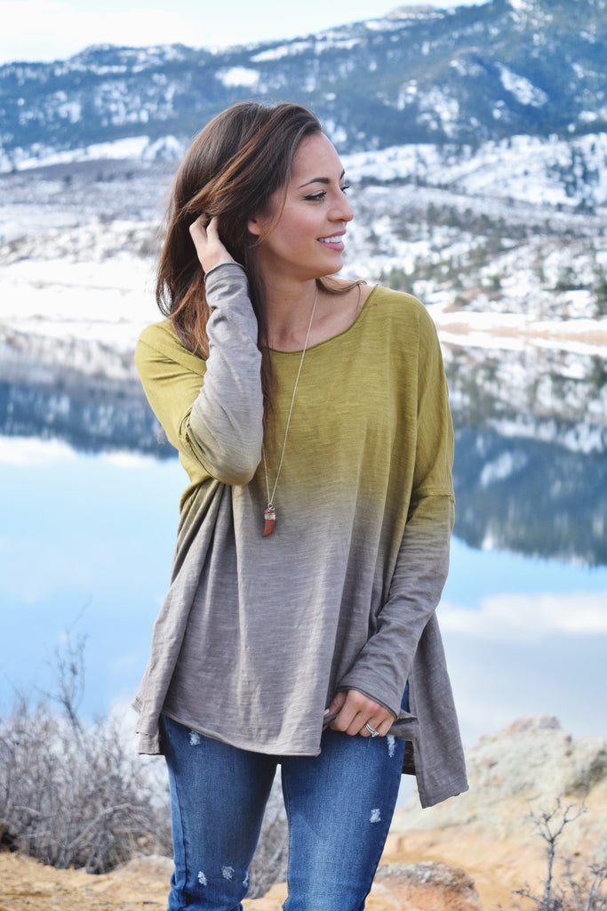 Womens Boutique To Dye For Long Sleeve Top Mustard