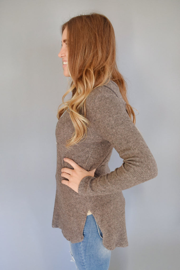 Affordable Online rib knit hoodie taupe