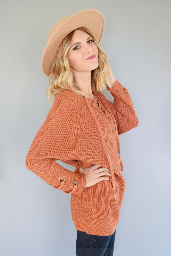 Cute evergreen lace up sweater rust